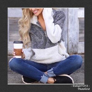 Sweaters - SALE  - LAST 2 - Charcoal & Ivory Fuzzy Pullover